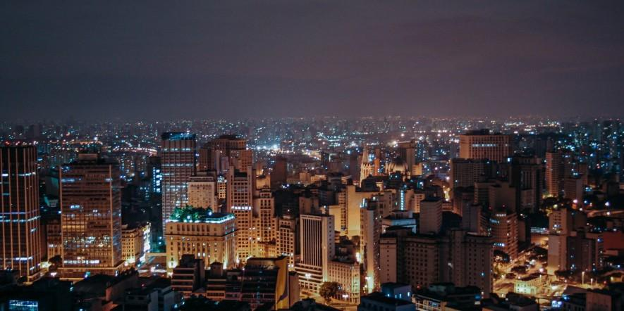 Sao Paulo, Brazil at night - lights can be seen across the city's buildings and skyscrapers